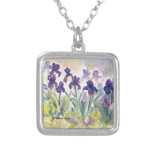 Purple Irises SQ. Necklace