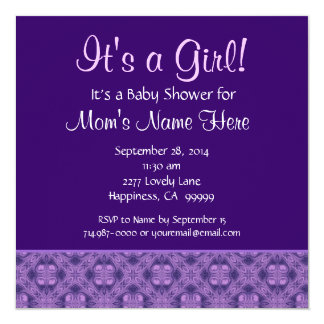Purple It's a Girll Baby Shower M090E Card