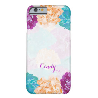 Purple, Ivory and Teal Flower, Monogram Barely There iPhone 6 Case