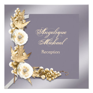 Purple ivory cream wedding engagement personalized invitations