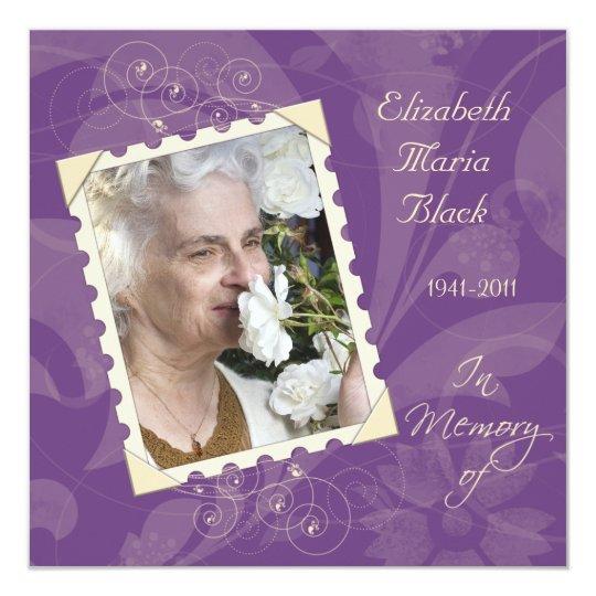 Purple Ivory Photo Memoriam Card Announcement
