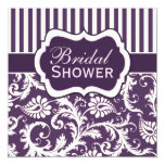 Purple, Ivory, Pink Damask Bridal Shower Invite