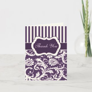 Purple, Ivory, Pink Damask Thank You Card II card
