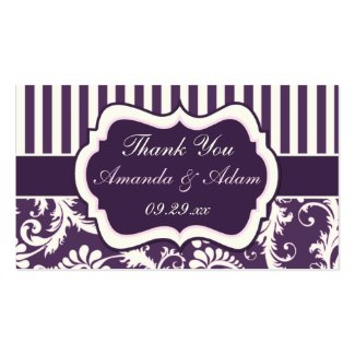 Purple, Ivory, Pink Damask Wedding Favor Tag profilecard