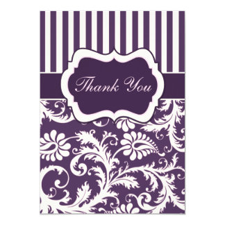 Purple, Ivory, Pink Striped Damask Thank You Card