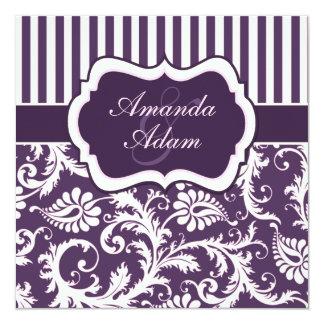 Purple, Ivory, Pink Striped Damask Wedding Invite