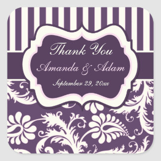 Purple, Ivory, Pink Striped Damask Wedding Sticker