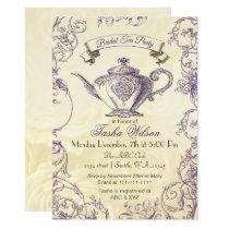 Purple Ivory Roses vintage Bridal Tea Invitation
