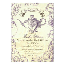 Purple Ivory Roses vintage Bridal Tea Invites