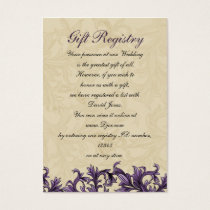 Purple ivory Vintage Flourish Wedding Business Card