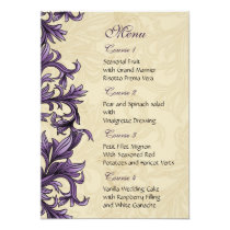 Purple ivory Vintage Flourish Wedding Card