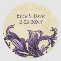 Purple ivory Vintage Flourish Wedding Classic Round Sticker
