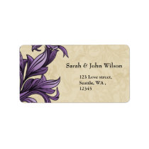 Purple ivory Vintage Flourish Wedding Label