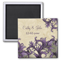 Purple ivory Vintage Flourish Wedding Magnet