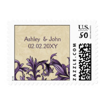Purple ivory Vintage Flourish Wedding Postage