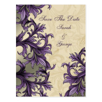 Purple ivory Vintage Flourish Wedding Postcard
