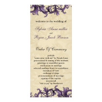 Purple ivory Vintage Flourish Wedding Rack Card
