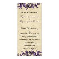 Purple ivory Vintage Flourish Wedding Rack Card