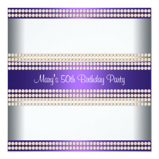 Purple Ivory Womans 50th Birthday Party Card