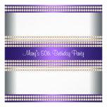 Purple Ivory Womans 50th Birthday Party Custom Invites
