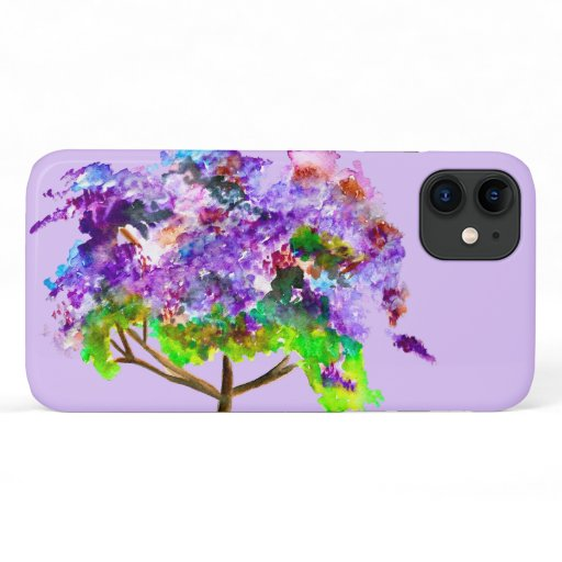 Purple jacaranda tree watercolor fine art iPhone 11 case