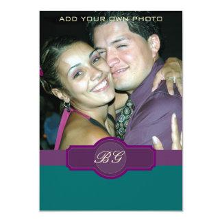 """Purple Jade Wedding Invitations Monograms Photo 5"""" X 7"""" Invitation Card"""