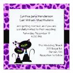 Purple Jaguar Print & Black Cat Wedding Invitation