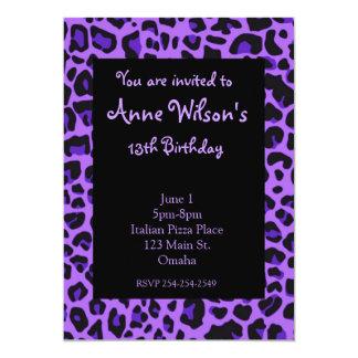 Purple Jaguar Print Girls Invitation