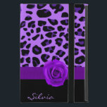 """Purple Jaguar Print iPad Mini Case with Stand<br><div class=""""desc"""">Stylish iPad mini case, with built in stand and graphics of a wild purple and black jaguar fur print. A solid black bottom of the case and graphics of a purple ribbon between the two backgrounds, is decorated with graphics of a rich purple rose. Text in lavender, at the bottom,...</div>"""