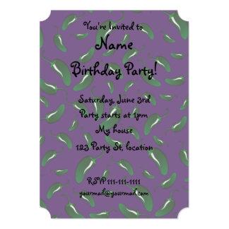 Purple jalapeno peppers pattern 5x7 paper invitation card
