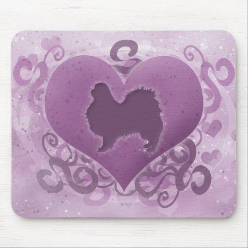 Purple Japanese Chin Valentine Mousepad