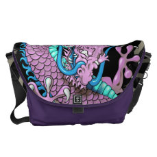 Purple Japanese Dragon Tattoo with Wind Bars Courier Bag