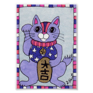 Purple Japanese Lucky Cat Maneki Neko Folk Art Poster