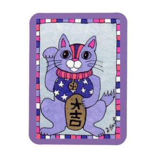 Purple Japanese Lucky Cat Maneki Neko Fridge Art Magnet