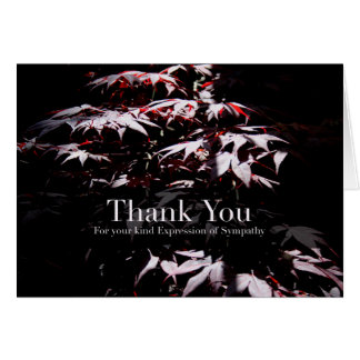 Purple Japanese Maple 1 Sympathy Thank You card