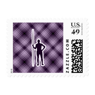 Purple Javelin Throw Postage Stamps