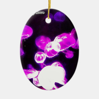 Purple Jellyfish Double-Sided Oval Ceramic Christmas Ornament