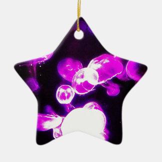 Purple Jellyfish Double-Sided Star Ceramic Christmas Ornament