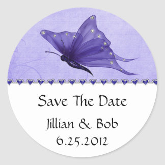 Purple Jewel Hearts Purple Butterfly Save The Date Classic Round Sticker