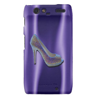 Purple Jewel Satin High Heel Shoe Crystal Droid RAZR Cover
