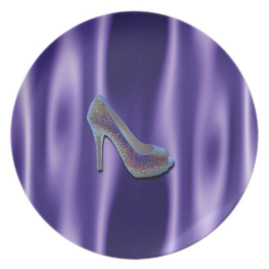 Purple Jewel Satin High Heel Shoe Crystal Dinner Plate