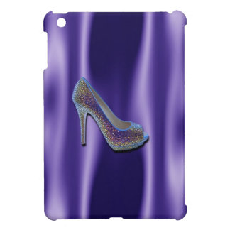 Purple Jewel Satin High Heel Shoe Crystal iPad Mini Cover