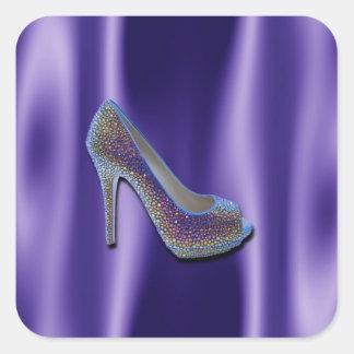 Purple Jewel Satin High Heel Shoe Crystal Square Sticker