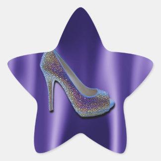 Purple Jewel Satin High Heel Shoe Crystal Star Sticker