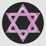 "Purple Jeweled Star of David Design Classic Round Sticker<br><div class=""desc"">a pretty Star of David in a pink/purplish jeweled design... .{graphic by MarloDeeDesigns.com}</div>"
