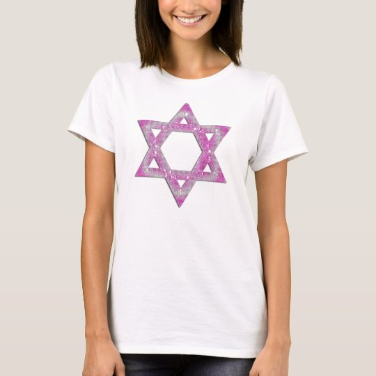 Purple Jeweled Star of David Design T-Shirt