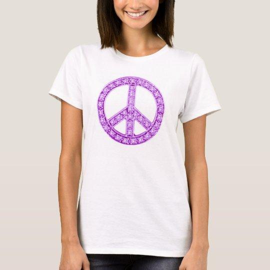 Purple Jewels Peace Sign T-Shirt