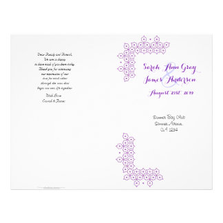 Purple Jewish Wedding Program