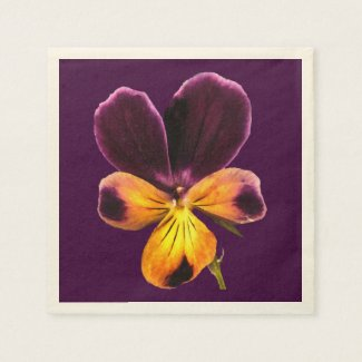 Purple Johnny Jump Up Flowers Paper Napkins