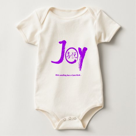 "Purple joy kanji inside enso zen circle ""Joy"" Baby Bodysuit"